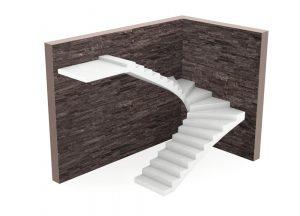 Лестница П-образная с забежными ступенями в Уфе