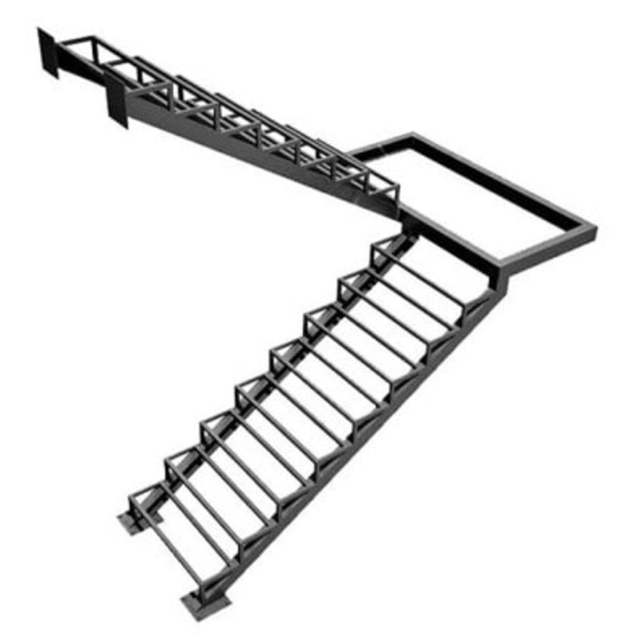 Каркас П-образной лестницы с площадкой