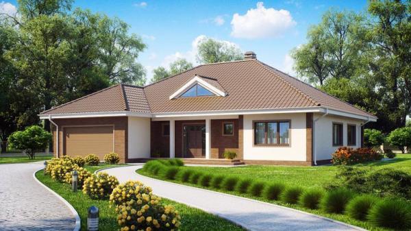 Проект одноэтажного дома из бруса 16,4х18,5м.