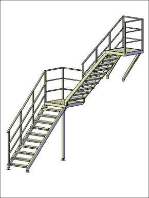 Лестница П-2 двухмаршевая с поворотом на 90°