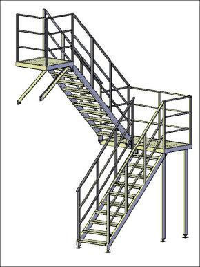 Лестница П-2 двухмаршевая с поворотом на 180°